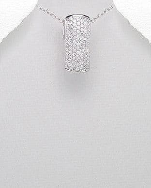 925 Sterling Silver Pendant Decorated with CZ Simulated Diamonds and Plated with Rhodium
